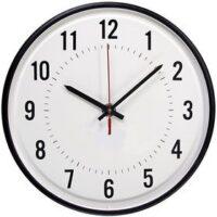 Simplex (6310-9075) 12″ Clock – Impulse, Round Semi Flush 24V60 3WBLK